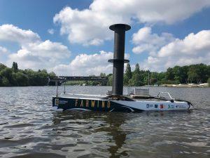Premier test du prototype sur le lac de Vioreau en juillet 2021.
